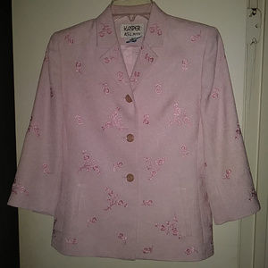 Kasper A.L.S. Petite Lt Pink Embroidered Jacket